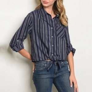 Tops - Navy striped button down top.